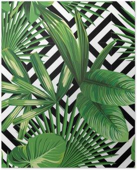 Poster Paume tropical feuilles modèle, fond géométrique