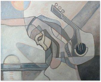 Poster Peinture abstraite Avec Femme et guitare