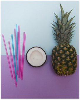 pineapple and half of coconut for party with straws in pastel Poster