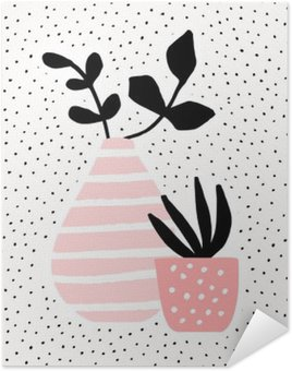 Poster Pink Vase and Pot with Plants