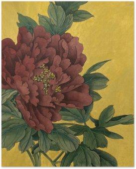 Poster Pioen bloem op een gouden achtergrond