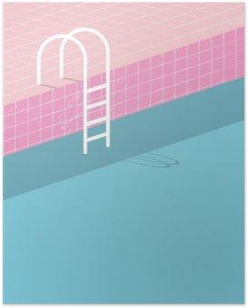 Poster Piscine dans le style vintage. tuiles rétro roses anciennes et échelle blanche. Summer modèle affiche de fond.