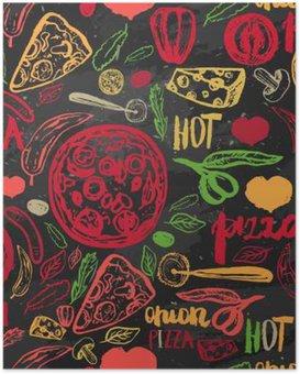 Poster Pizza hand getrokken naadloze patroon met olijven, woorden, tomaten en plakjes op donkere achtergrond voor banners, inpakpapier.