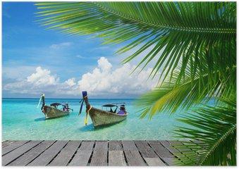 Poster Pont avec vue sur une mer tropicale