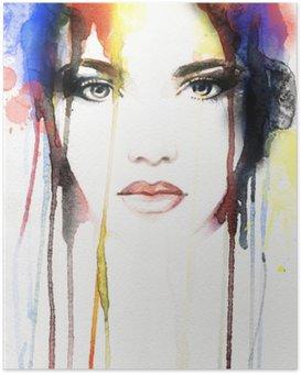 Poster Portrait de femme. aquarelle abstraite