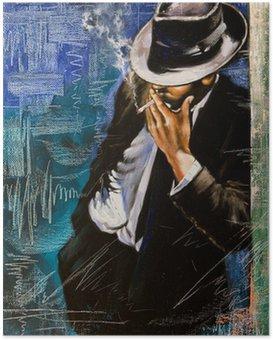 Poster Portrait de l'homme avec une cigarette
