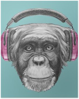 Poster Portrait de singe avec un casque. Hand drawn illustration.