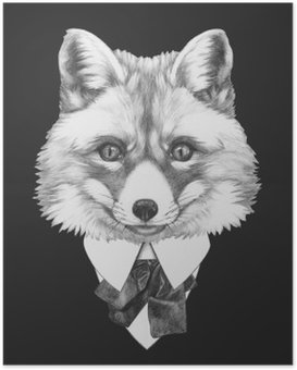 Portrait of Fox in suit. Hand drawn illustration. Poster