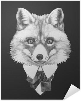 Portrait of Fox in suit. Hand drawn illustration.