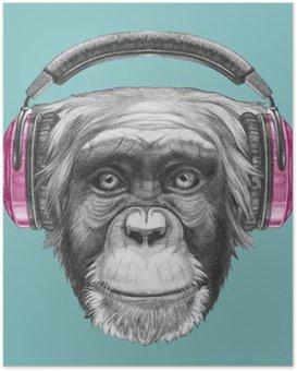 Poster Portret van Aap met koptelefoon. Hand getrokken illustratie.
