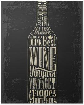 Poster Poster Typographie texte lettrage dans une bouteille de vin silhouette. Vintage gravure illustration vectorielle. Création publicitaire pour pub sur fond sombre