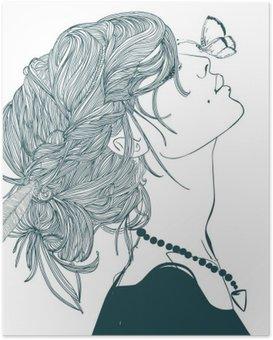 Poster Profil de la belle femme avec papillon