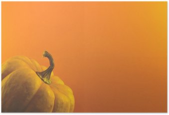 pumpkin on orange background Poster