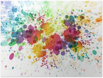 Poster Raster version av abstrakt färgrik plaska bakgrund