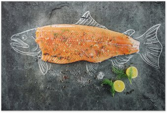 raw salmon fish steak with ingredients like lemon, pepper, sea salt and dill on black board, sketched image with chalk of salmon fish with steak Poster