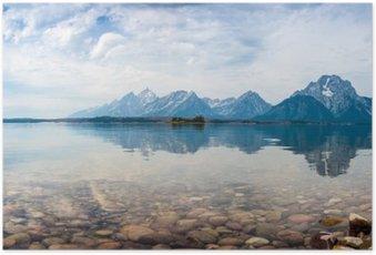 Poster Reflets du sommet de la montagne sur le lac