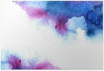 Poster Résumé bleu et violet aqueuse frame.Aquatic backdrop.Hand aquarelle dessinée splash stain.Cerulean.