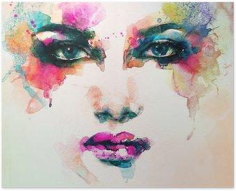 Póster Retrato de la mujer. acuarela abstracta. Fondo de la manera
