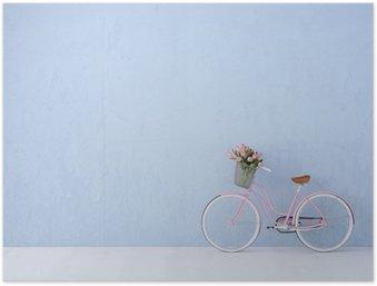 Poster Rétro bicyclette vintage vieux et bleu mur. rendu 3d