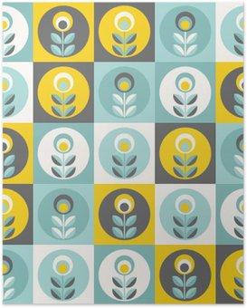 Poster Retro bloemenpatroon, geometrische naadloze bloemen