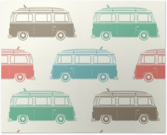 Retro camper van with surfing board. Seamless pattern. Poster