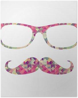 Poster Rétro hippie face à des icônes géométriques