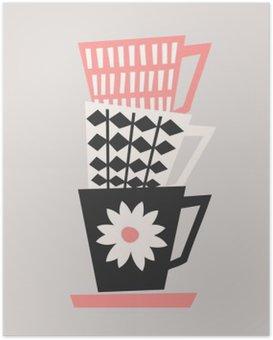 Poster Retro koffiekopjes