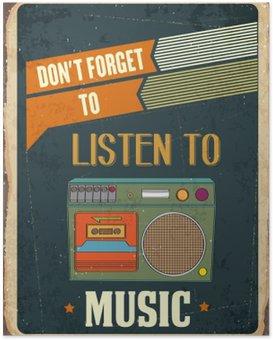 "Poster Retro metalen bord ""Luister muziek"""