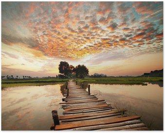Póster Río en la puesta del sol