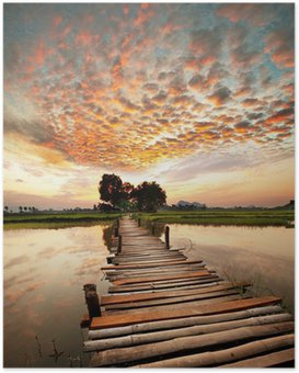 Poster River på solnedgången