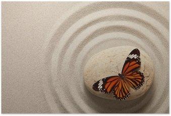 Poster Roche Zen avec le papillon