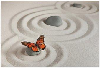 Poster Roches zen avec papillon