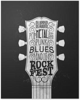 Poster Rock Music Festival Poster. Vintage stijl vector illustratie.