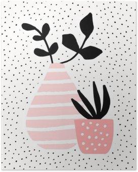 Poster Rose Vase et Pot avec des plantes
