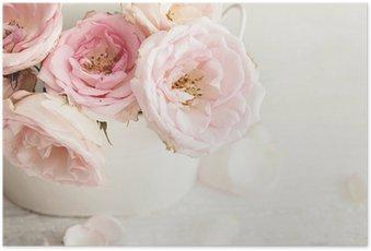 Poster Roze bloemen in een vaas