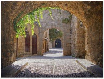 Poster Rue médiévale voûtée dans la vieille ville de Rhodes, Grèce