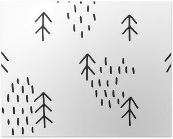 Scandinavian pattern with fir trees. Seamless winter patterns, hand drawn in black ink. Perfect for gift wrapping or printing on fabric. Seamless minimal christmas pattern. Poster
