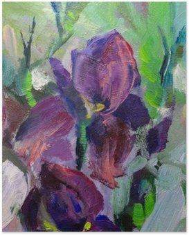 Poster Schilderij stilleven schilderen met olieverf textuur, irissen impressionisme een