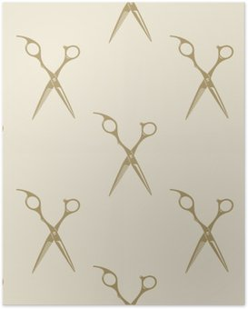 Scissors pattern tile background seamless vintage barber shop symbol emblem label collection Poster