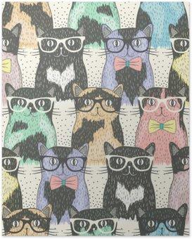 Poster Seamless avec hippie chats mignons pour les enfants