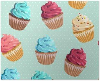Seamless cupcakes and polka dot Poster