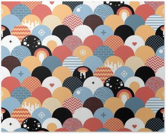 Seamless geometric pattern in flat style. Useful for wrapping, wallpapers and textile. Poster