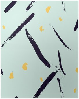 Poster Seamless main abstraite pinceau dessinée façonne pattern texture. Simple géométrique impression moderne chevron dans le vecteur. Hipster motif élégant.