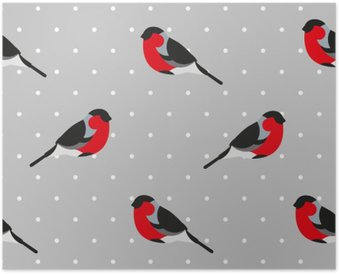 Seamless pattern in polka dot with bullfinch. Ornament for textile and wrapping. Vector background. Poster