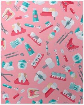 Poster Seamless Tandläkare Mönster på rosa bakgrund
