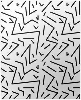 Poster Seamless vintage pattern géométrique dans le style rétro des années 80, memphis. Idéal pour la conception du tissu, du papier d'impression et le site Web toile de fond. fichier vectoriel EPS10