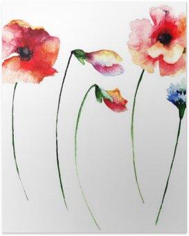 Poster Set van de zomer waterverfbloemen