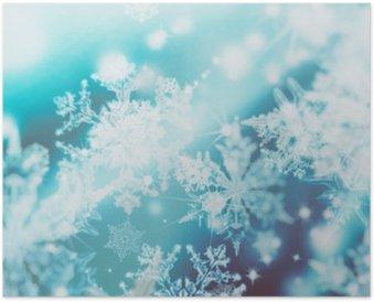 Poster Shimmering spots de flou sur fond abstrait. Motif de flocons de neige