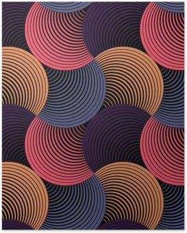 Poster Sierlijke Geometrische Bloemblaadjes Grid, Abstract Vector Naadloos Patroon