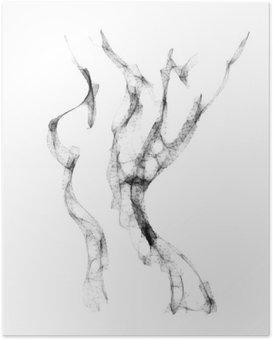 Poster Silhouet van mooie vrouw naakt vector illustratie